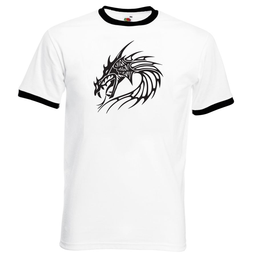 dragon design 3 white and black ringer  t shirt