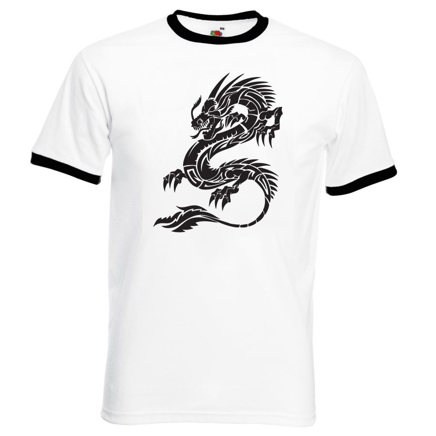 dragon design 1 white and black ringer t shirt