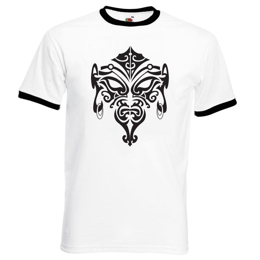 mask design 1  white and black  ringer t shirt