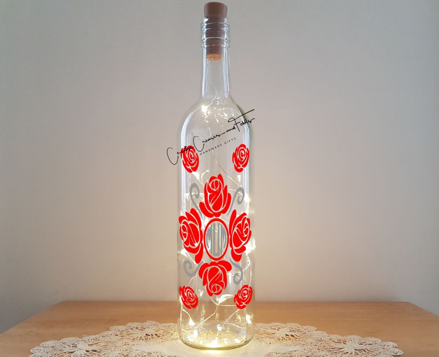 Rose Monogram Bottle Light Kit - Chantal's Gifts (formerly Creative Creases and Folds)