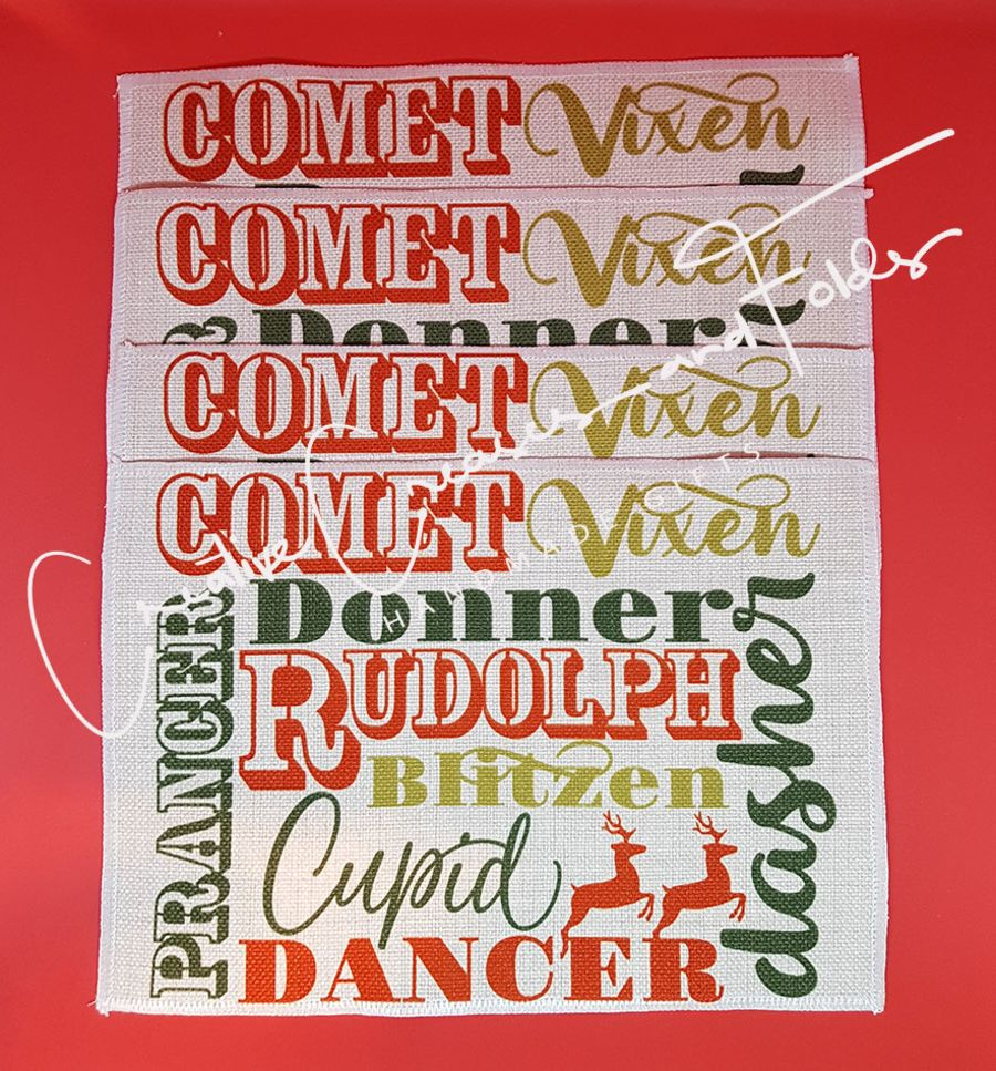 Christmas Reindeer Names Placemats