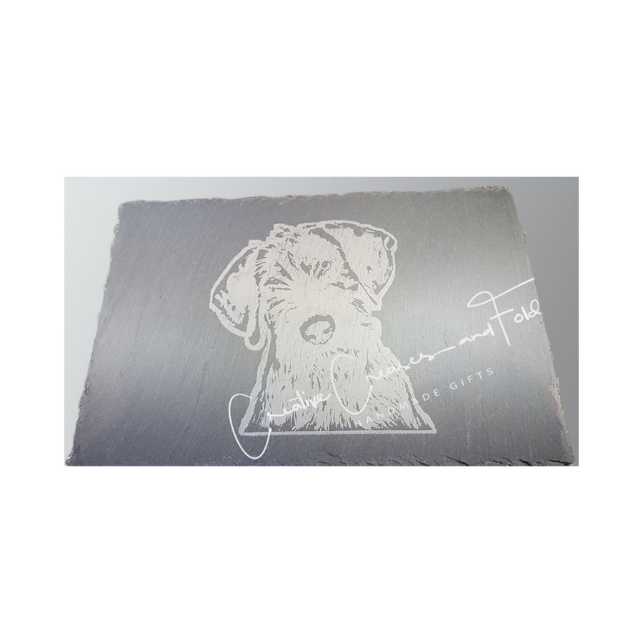 Slovakian Rough Haired Pointer Puppy - Hand Etched in Slate