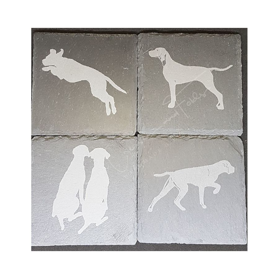 Hand Etched Slate Coasters - 4 Designs