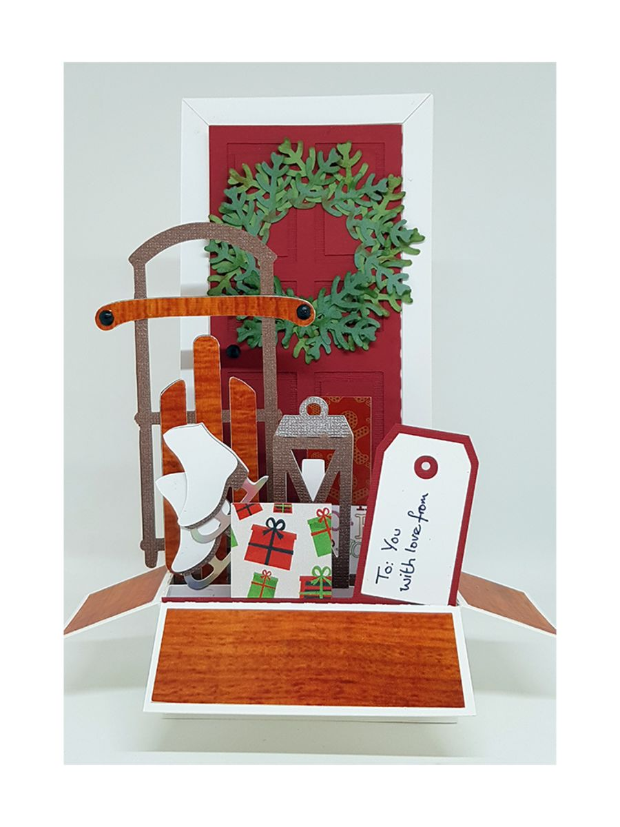 Front Door at Christmas Time Box Card