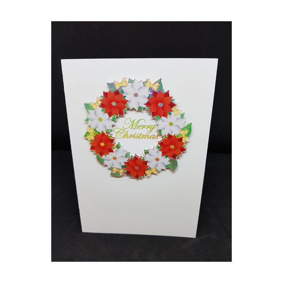 Poinsettia Wreath Card