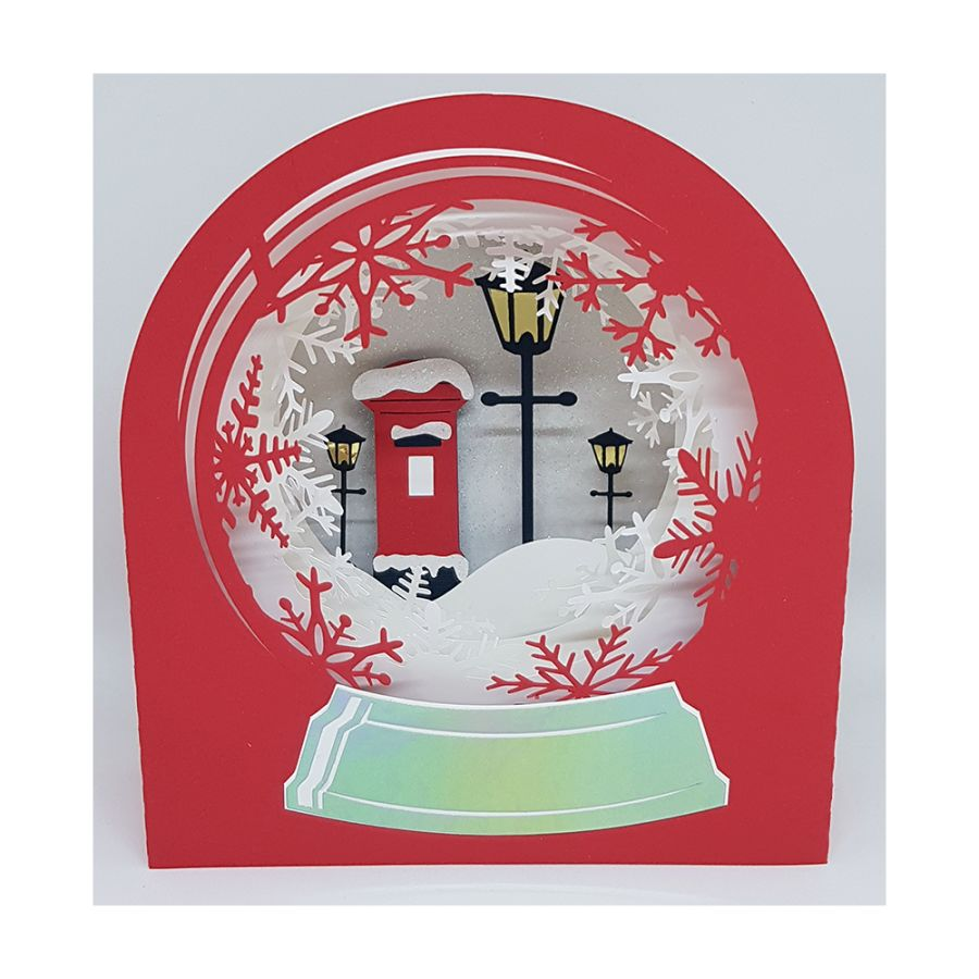 Snow Globe Pillar Box 3D Christmas Card