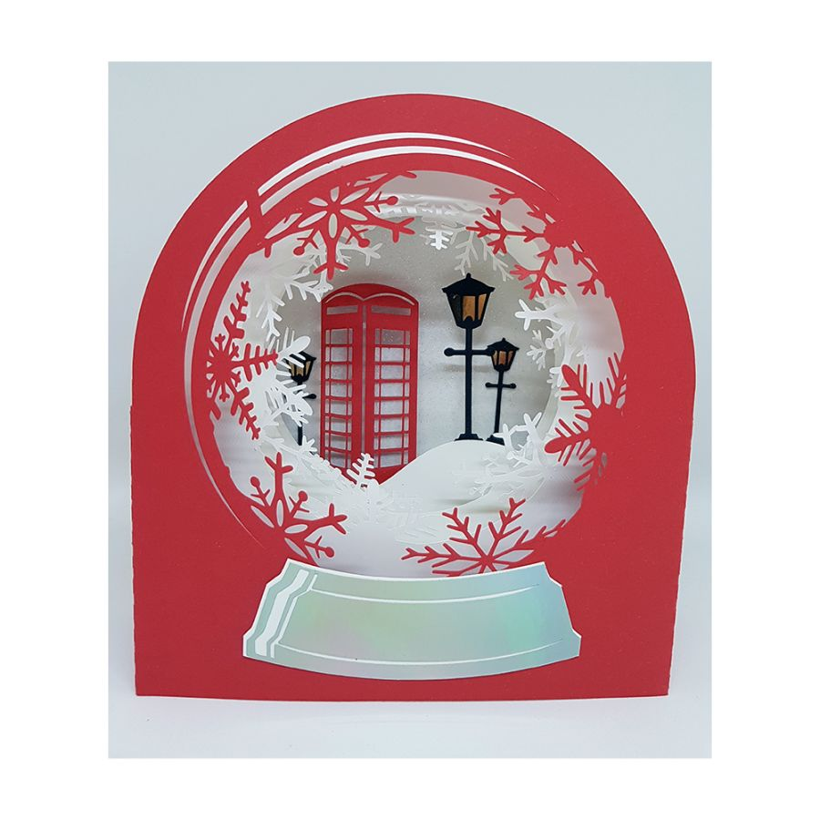 Snow Globe Telephone Box 3D Christmas Card