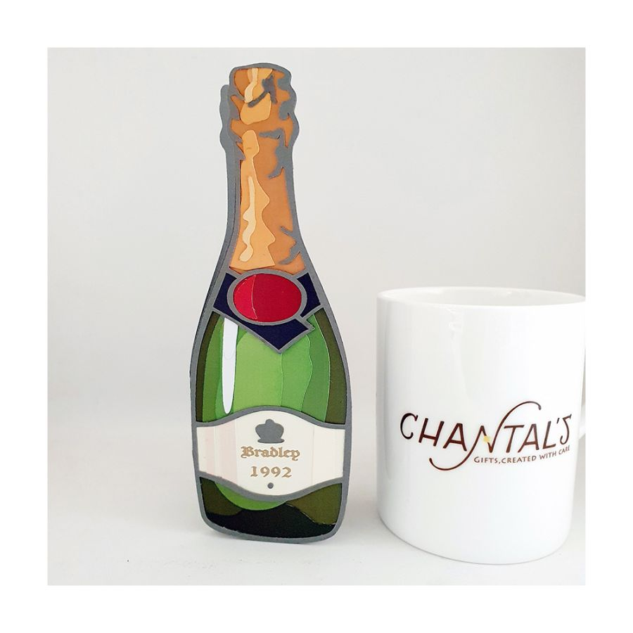 Champagne Bottle Personalised Card