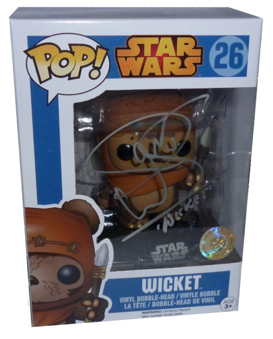 Warwick Davis Signed Star Wars Wicket the Ewok Funko Pop Figure + COA