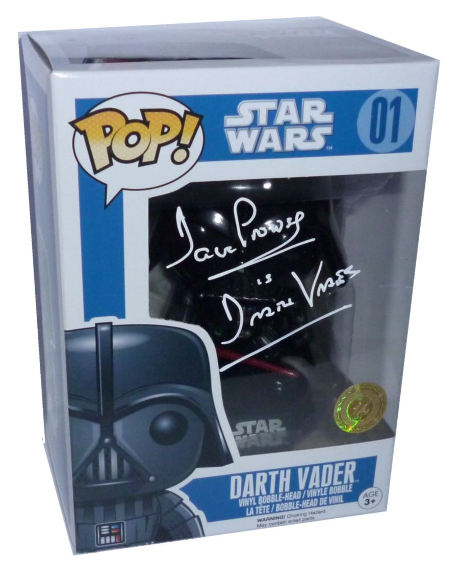 Dave Prowse Signed Star Wars Darth Vader Funko Pop Figure + COA