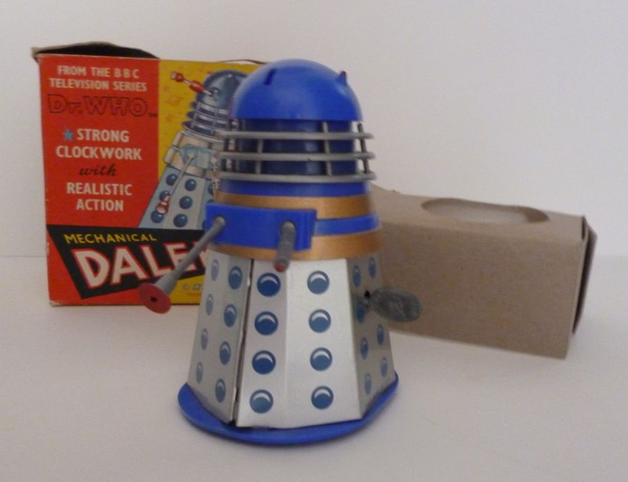 Vintage 1965 Codeg Blue Tin Clock Work Dalek BBC Doctor Who With Original Box