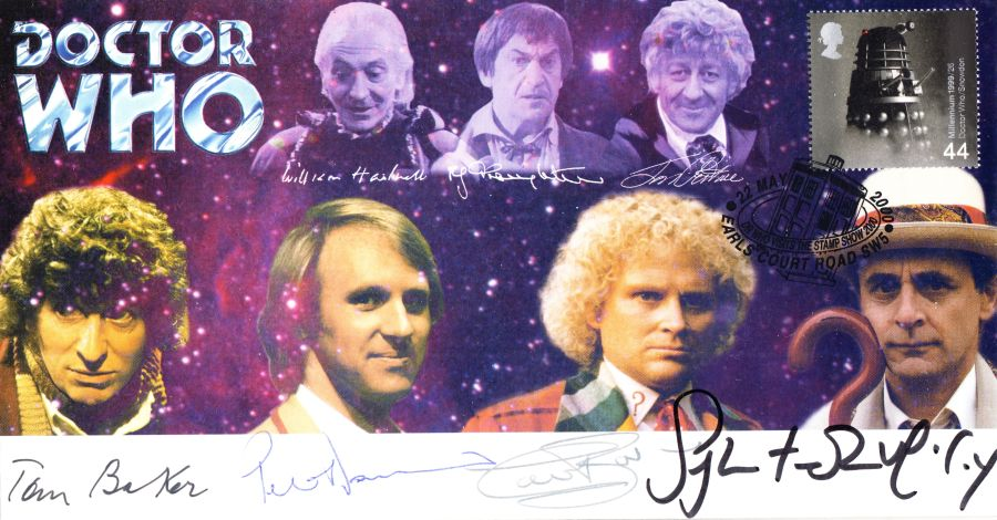 BBC Doctor Who First Day Cover FDC Signed By 4 Dr's Baker Davison & McCoy