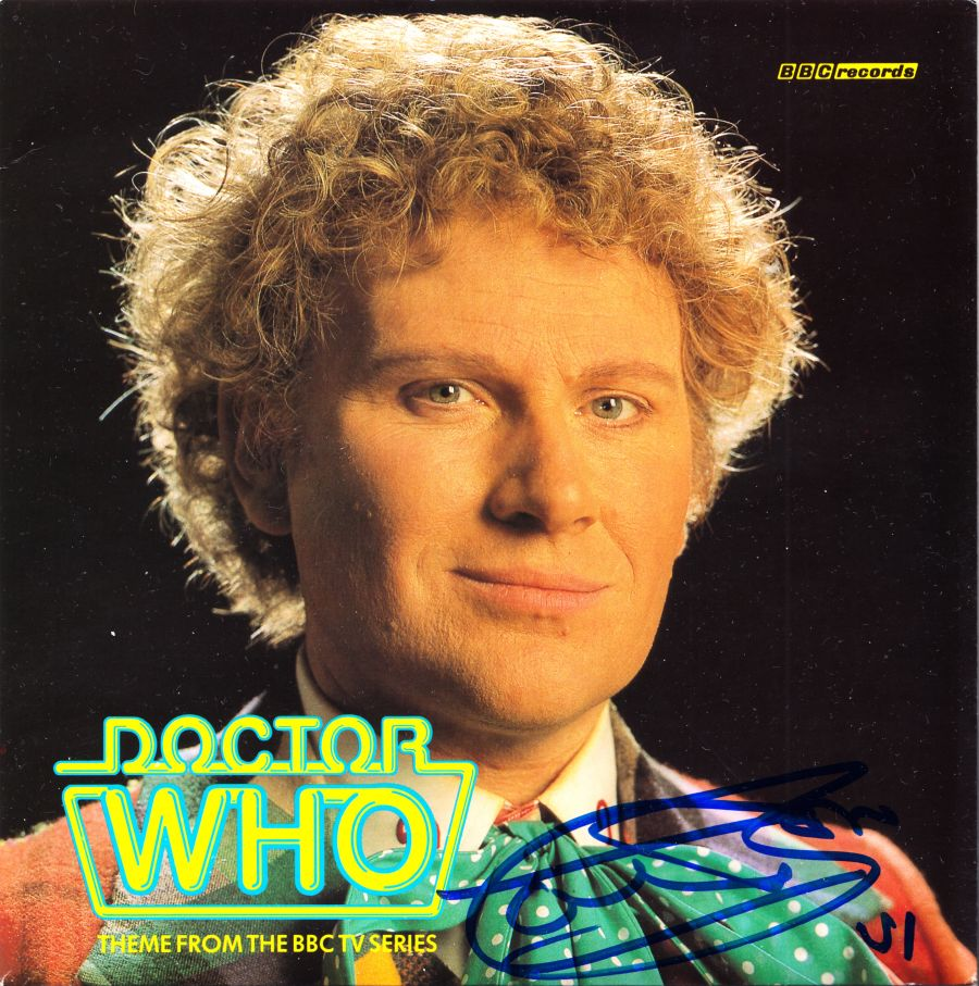 Colin Baker Signed 6th Dr Doctor Who Theme Tune 7inches Single BBC & Proof