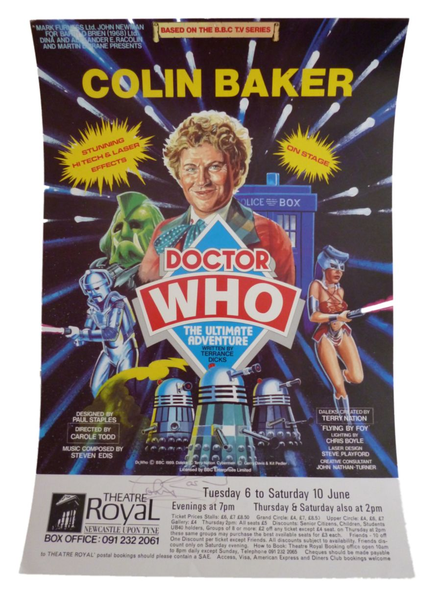 Colin Baker Signed 6th Doctor Who The Ultimate Adventure Theatre Royal Poster