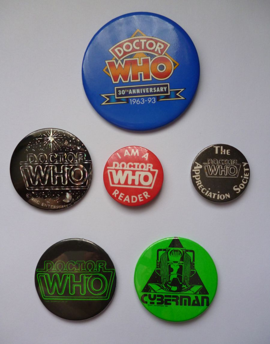 Classic Original BBC Doctor Who Six Badges Badge Set