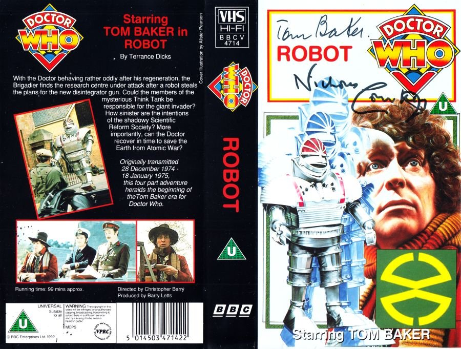 Doctor Who Robot Original VHS Video Cover Signed by Tom Baker + Courtney