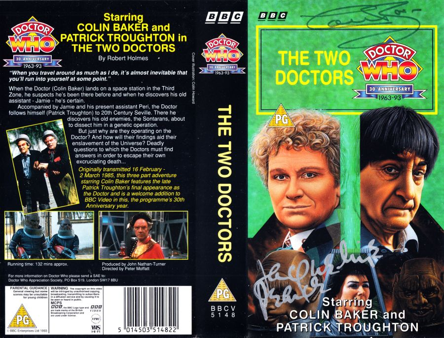 Doctor Who The Two Doctors Original VHS Video Cover Signed by Colin Baker