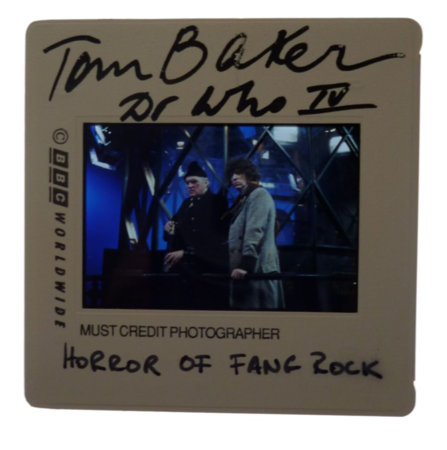 Doctor Who Tom Baker Signed BBC 35mm Publicity Slide Horror Of Fang Rock