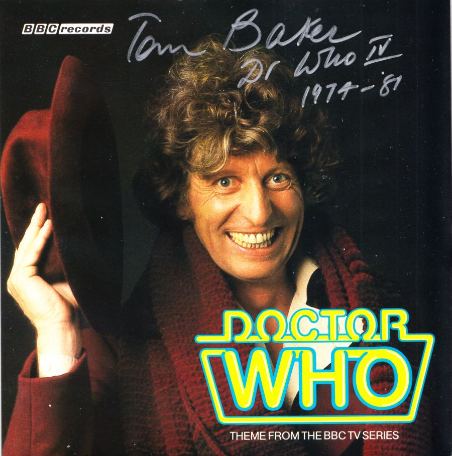 Tom Baker Signed 4th Dr Doctor Who Theme Tune 7inch Single BBC