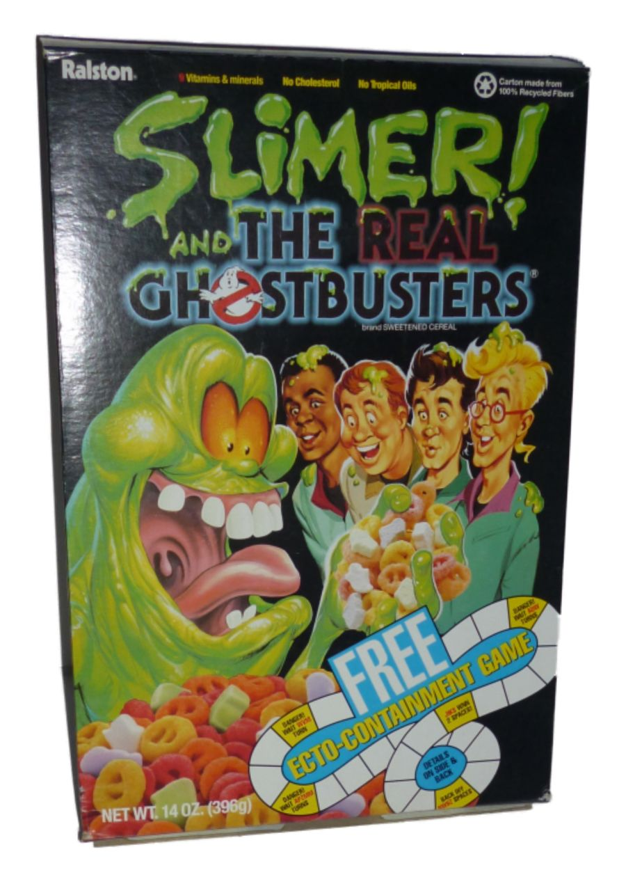 Original Ralston Slimer And The Real Ghostbusters 14 oz. Empty Cereal Box