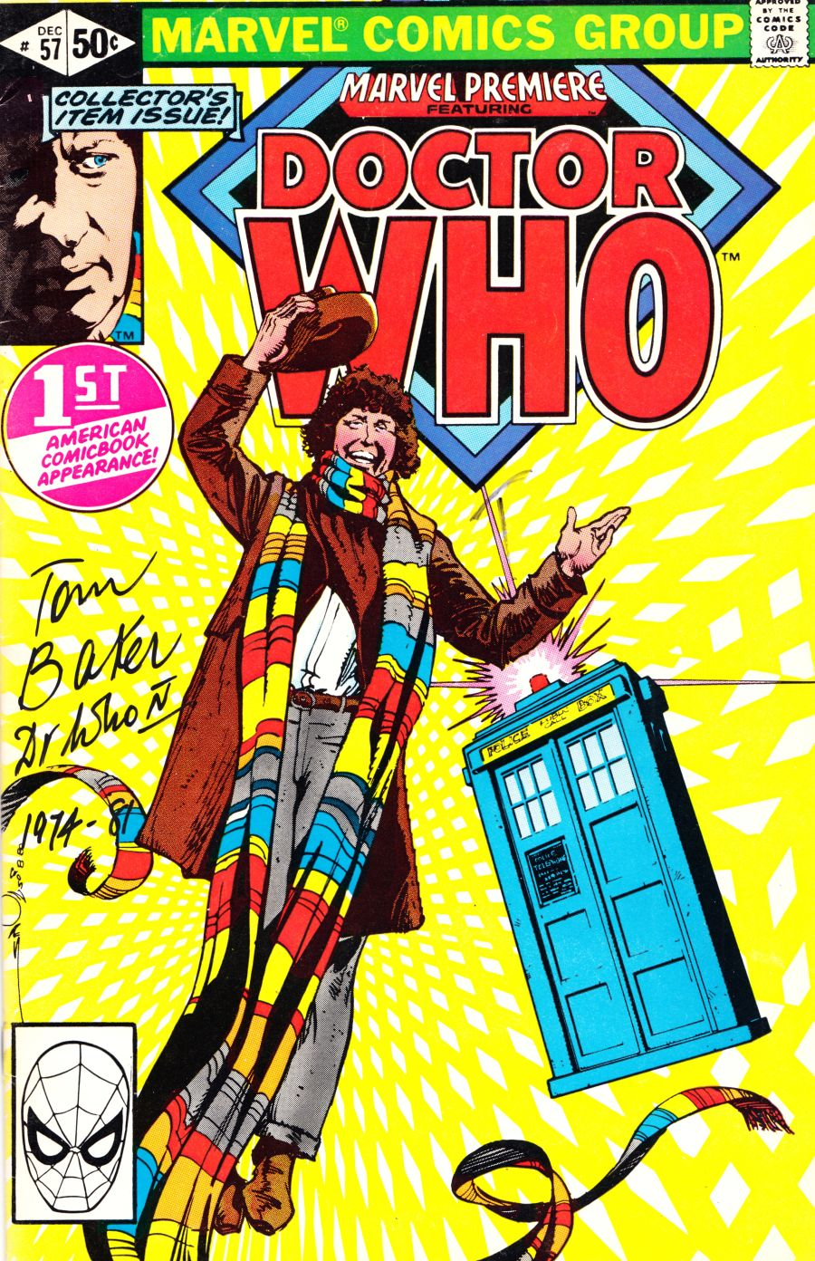 Doctor Who Tom Baker Signed Marvel  #57 1st American Comic Appearance