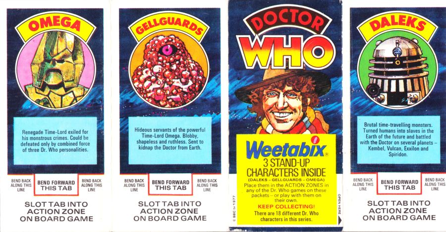 Doctor Who Weetabix Stand Up Card Figures Set 1977 Unseparated