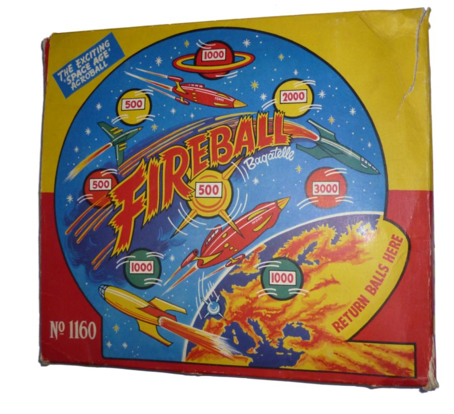 Fireball Louis Marx Bagatelle With Original Box 1160 c1960s