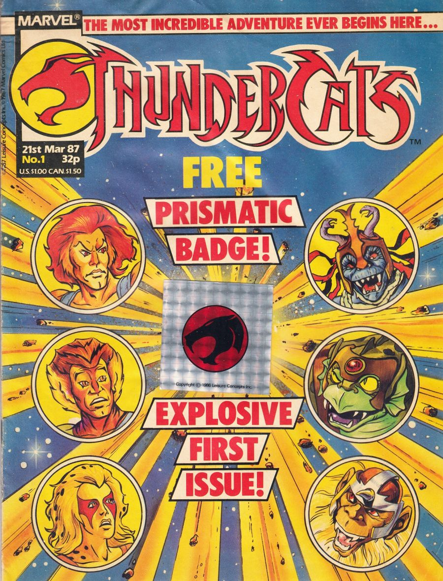 Thundercats Comic Issue 1 Marvel 21st March 1987 and Prismatic Badge