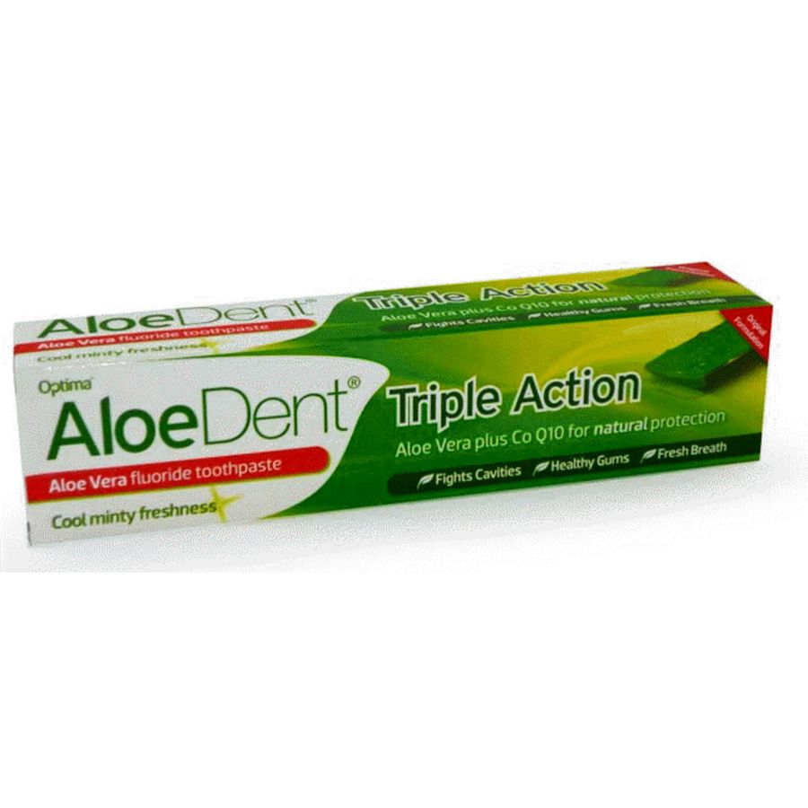 Aloe Dent Triple Action Aloe Vera Toothpaste with Co-Q-10 - Peppermint Flavour