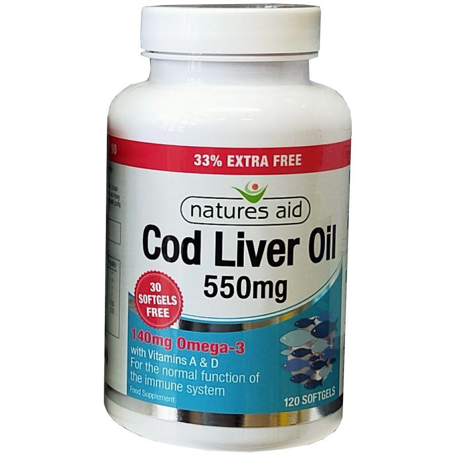 Natures Aid Cod Liver Oil 550mg 120 softgels