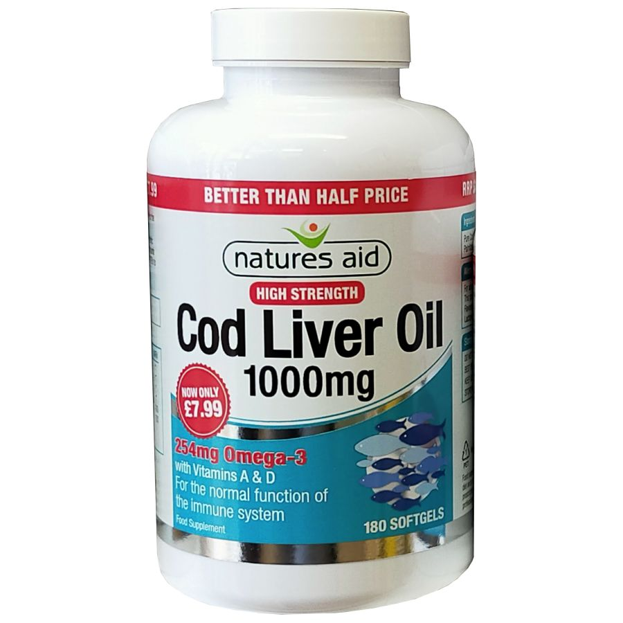 Natures Aid Cod Liver Oil High Strength 1000mg 180 softgels