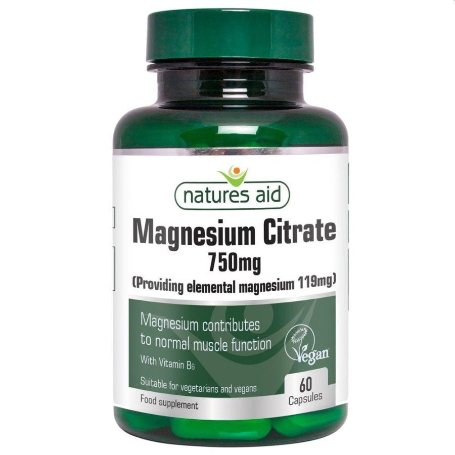 Natures Aid Magnesium Citrate 750mg 60 capsules