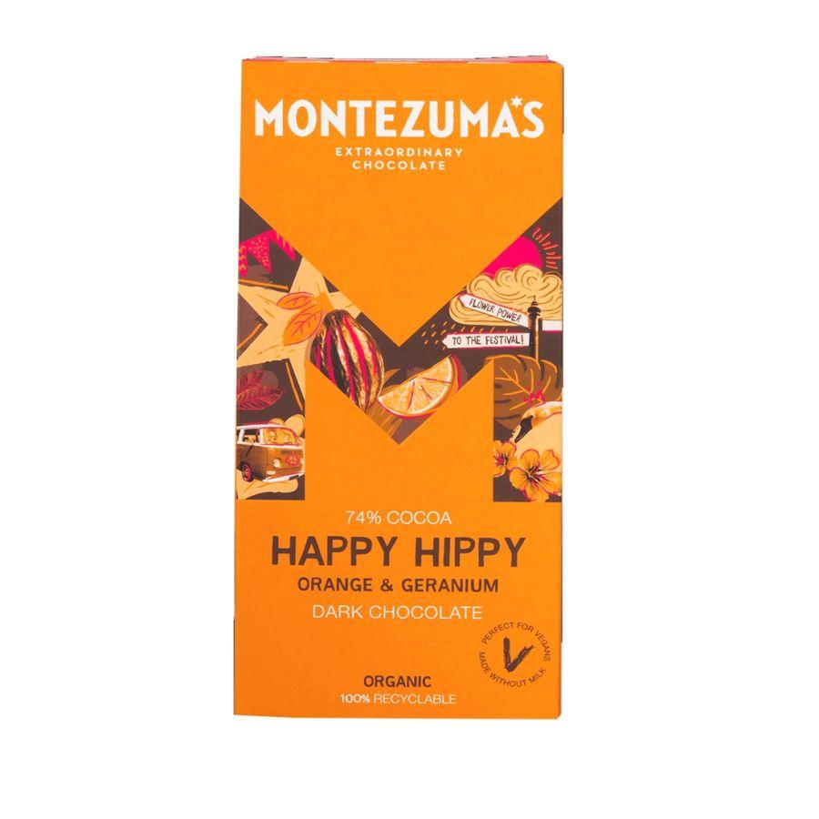 Montezuma's Happy Hippy Orange & Geranium Dark Chocolate Bar 90g