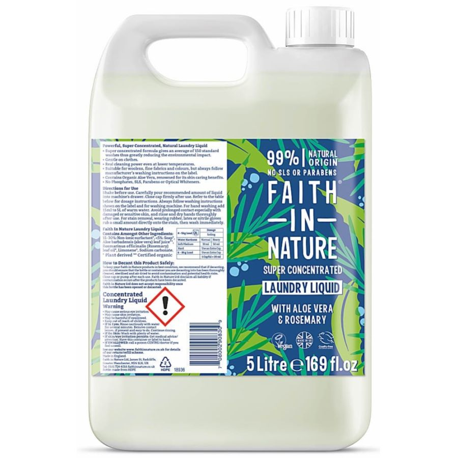 Faith in Nature Super Conc. Laundry Liquid Aloe vera & Rosemary 5ltr