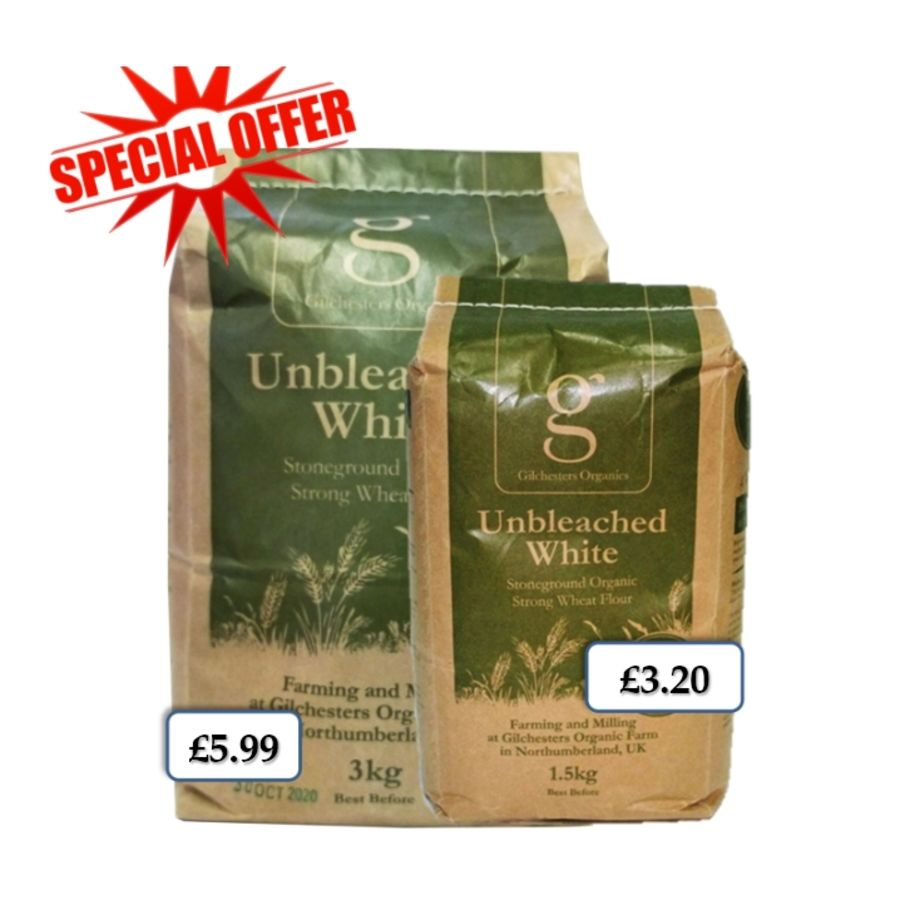 Gilchesters Organic Unbleached Stoneground Strong Wheat Flour 1.5kg & Dried Yeast