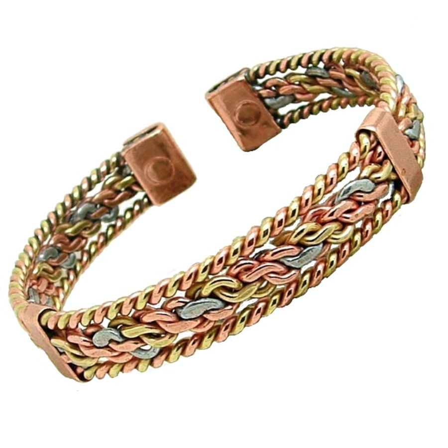 Laurence Butler Three Colour Entwined Magnetic Bracelet With Bands