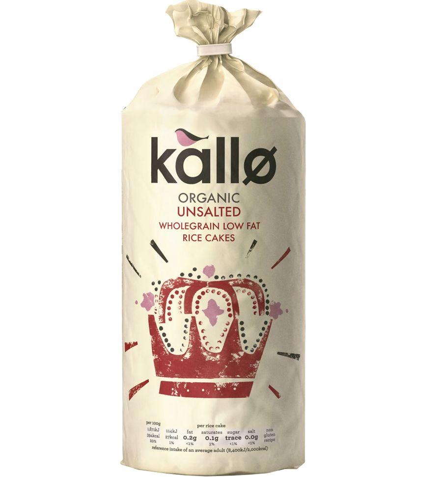 Kallo Organic Unsalted Wholegrain Rice Cakes 130g