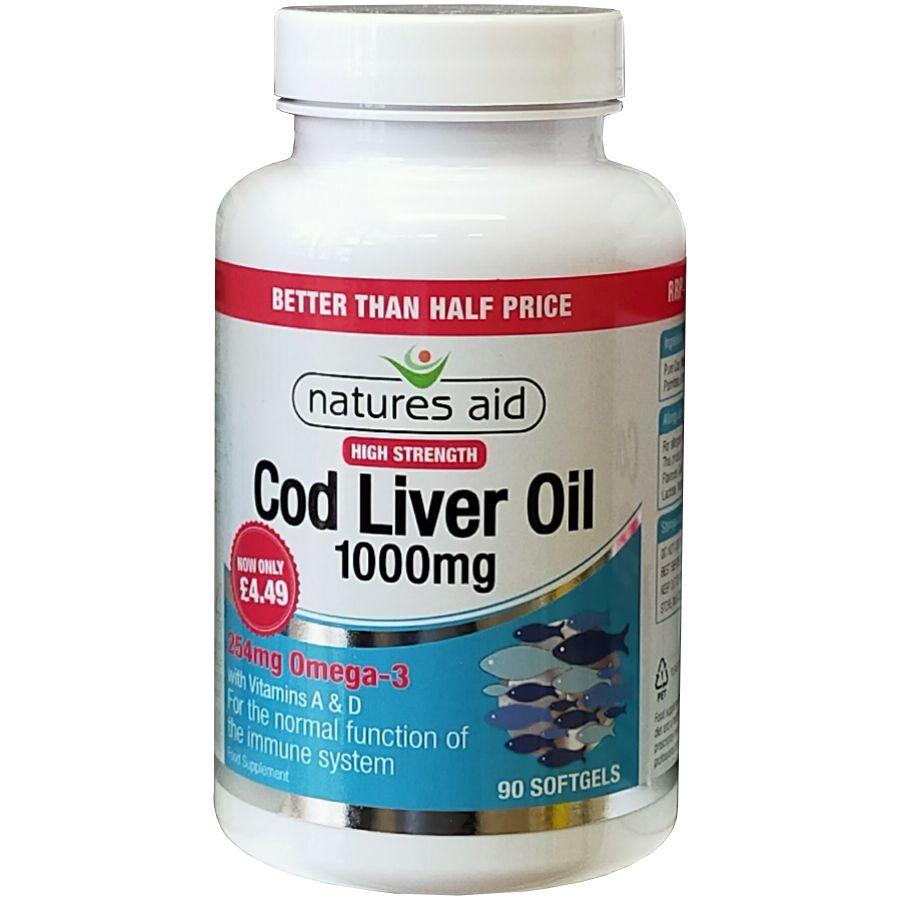 Natures Aid Cod Liver Oil High Strength 1000mg 90 softgels