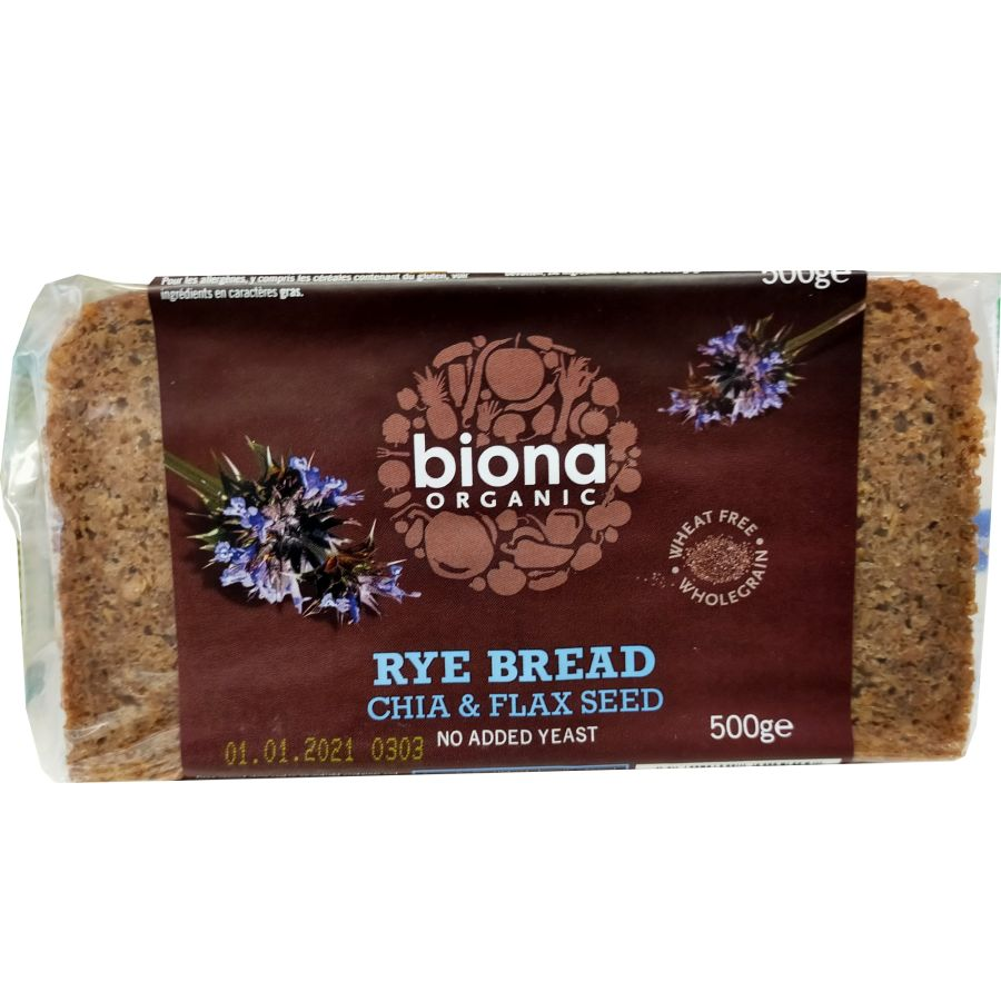 Biona Organic Wholemeal Rye Bread With Chai and Flax Seeds 500g