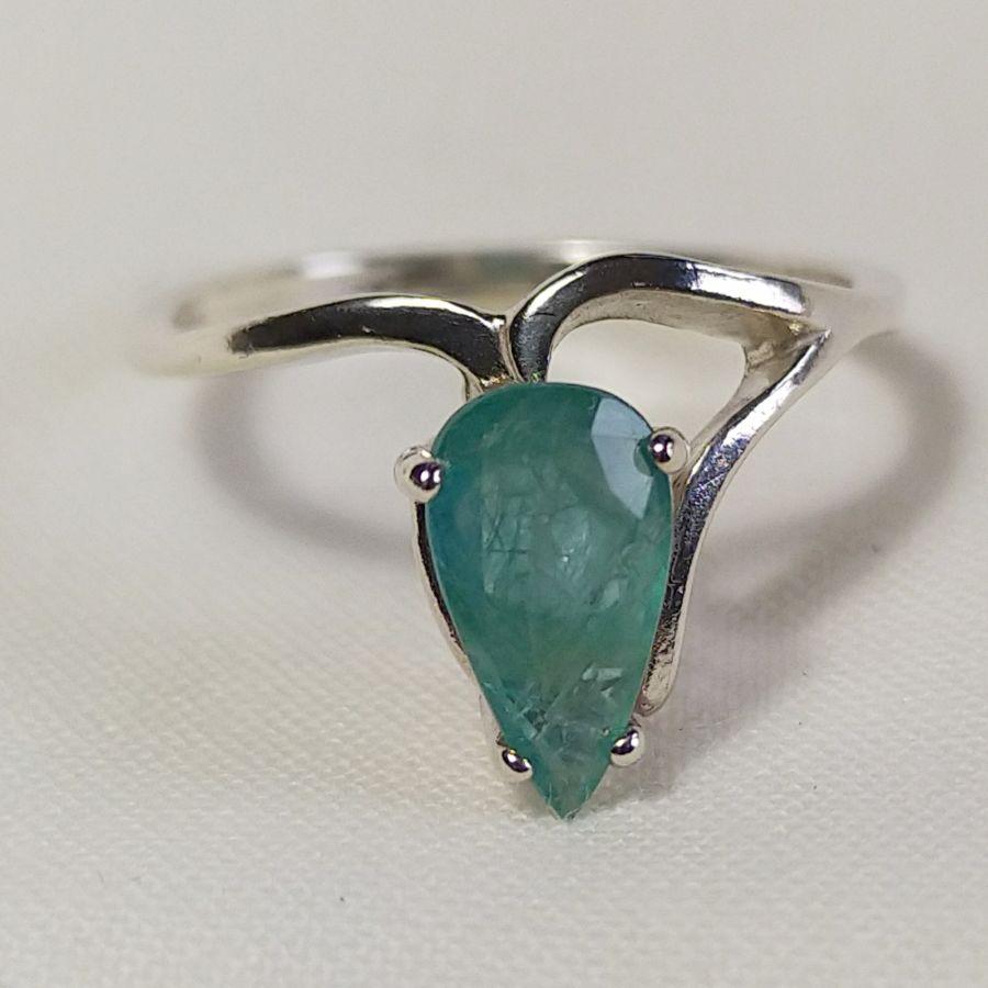 Grandidierite Half-Vee Cut Silver Ring
