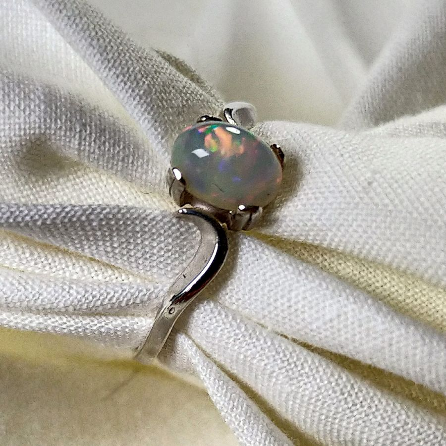 Natural Ethiopian Opal Silver Ring