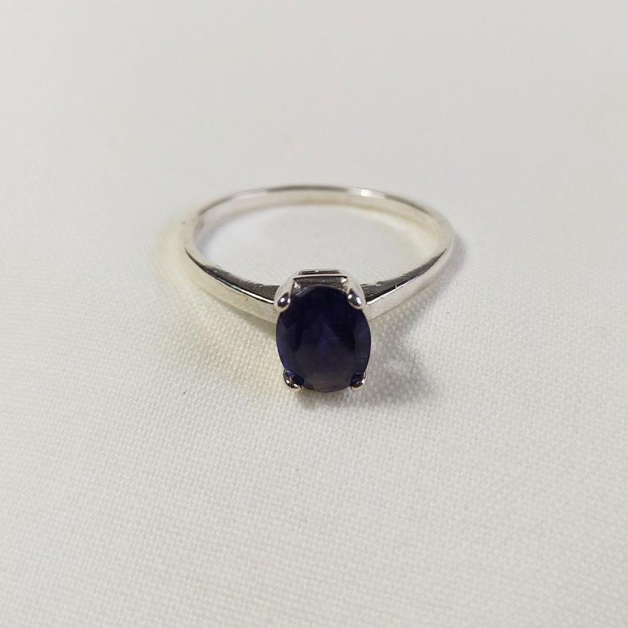 Natural Iolite Silver Ring