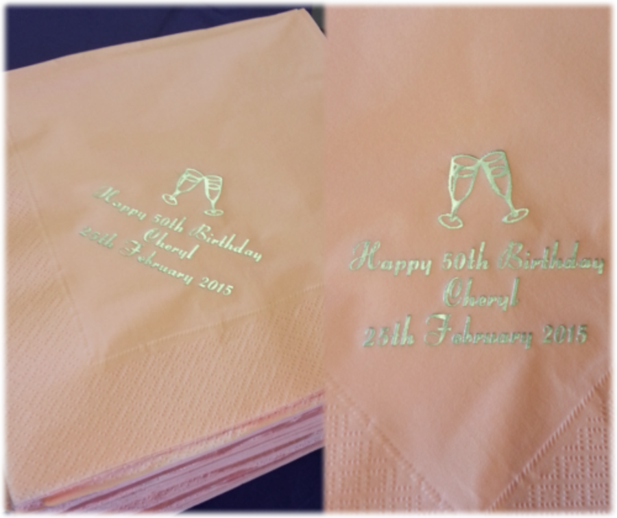 3 ply 40x40cm Personalised Paper Napkins