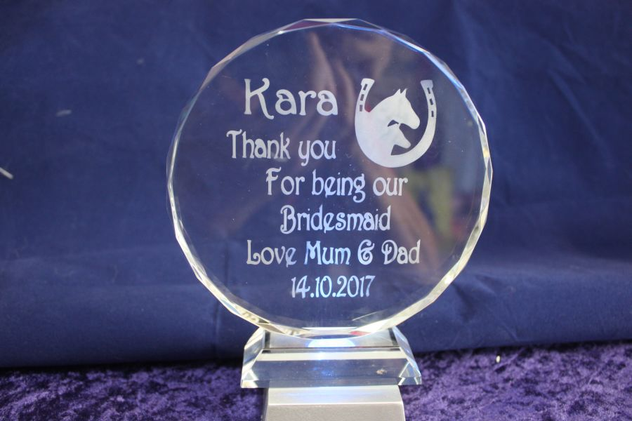Personalised Round F.E Etched Glass Block