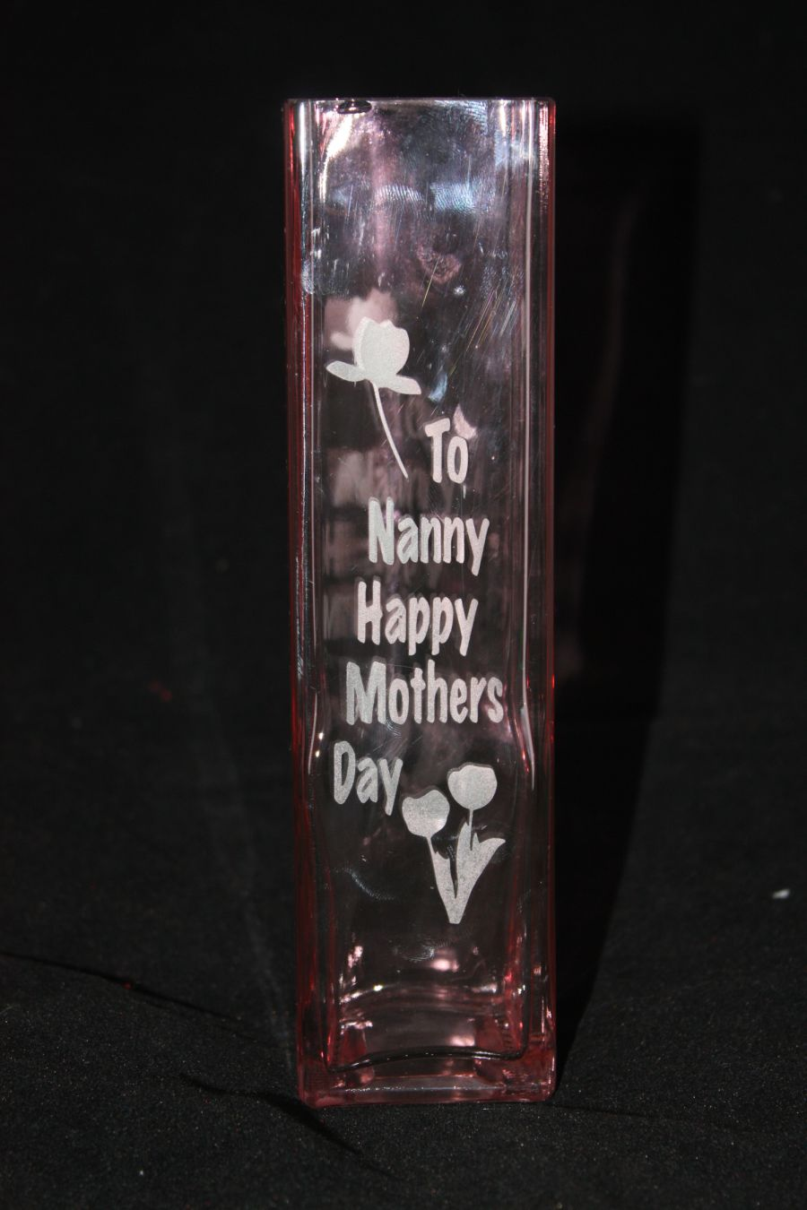 Personalised Etched Pink Vase