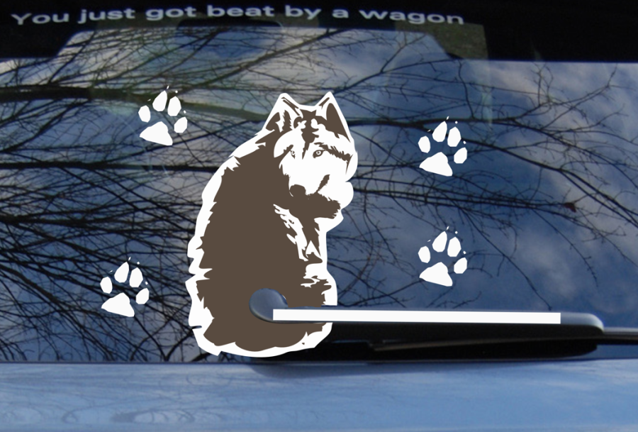 Car Back Window Waggy Dog Decal