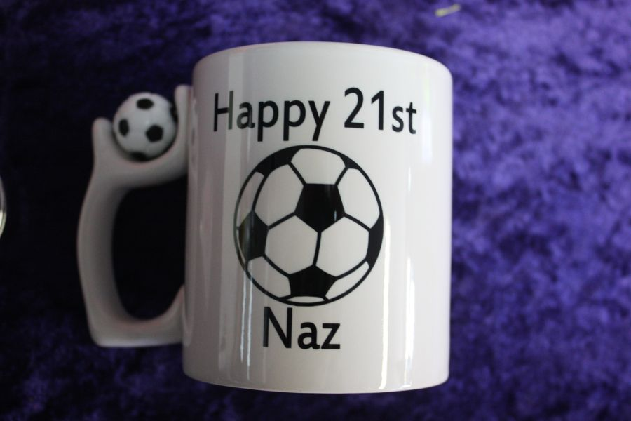 Personalised Football Handled Printed Mugs