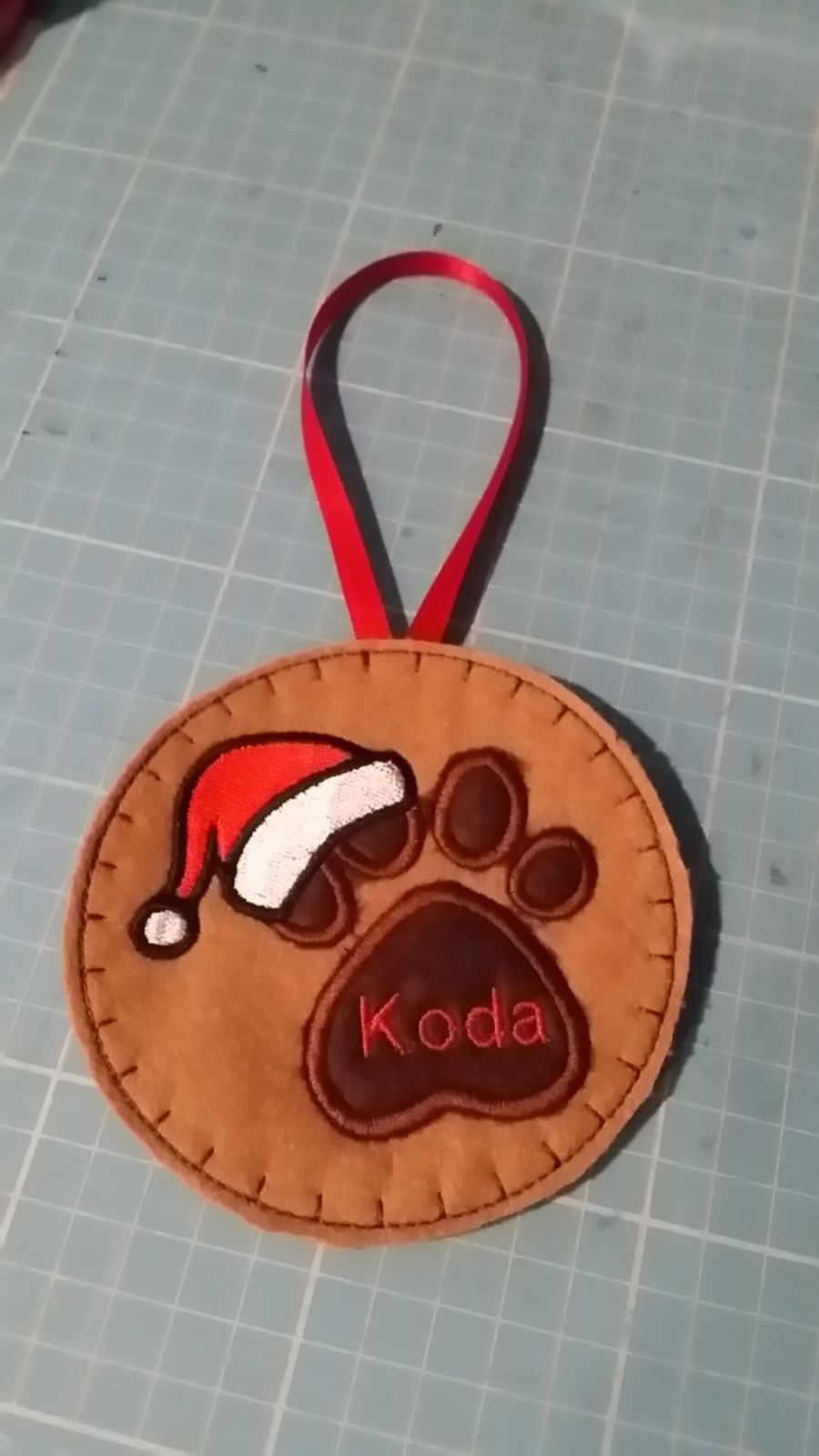 Personalised Hand Made Doggy Paw Print Christmas Tree Dec