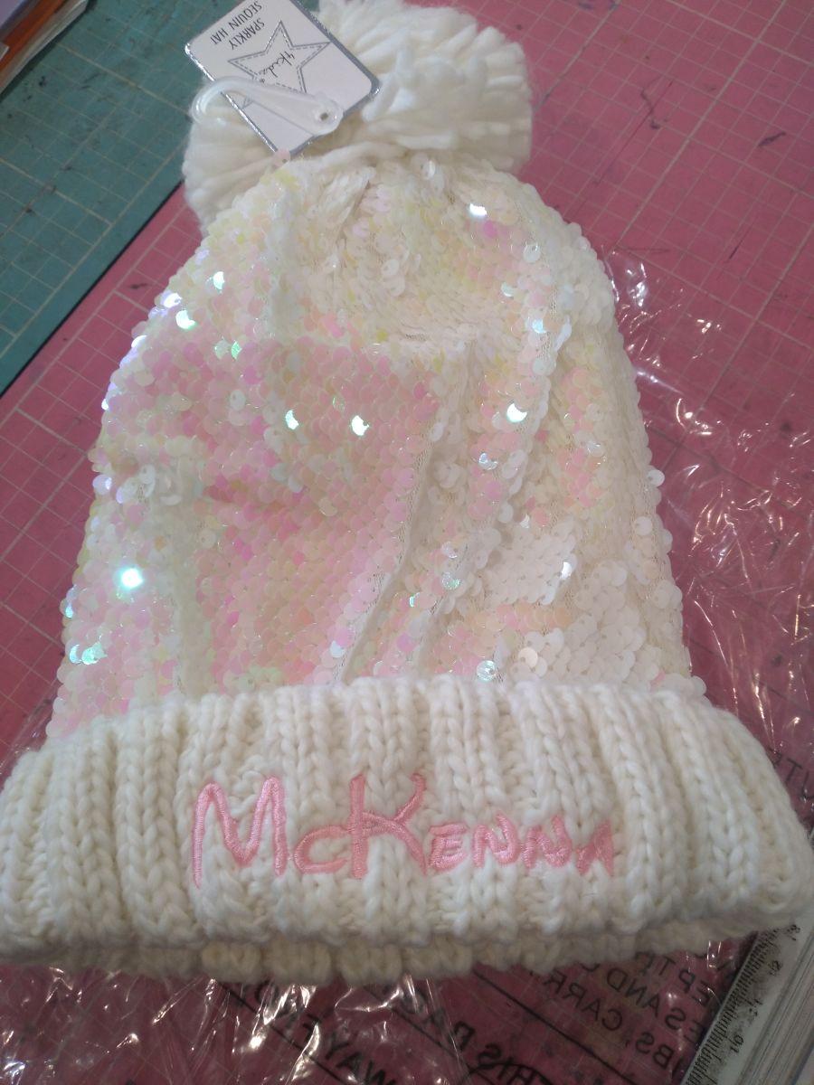 Girls Cream Sequin Single Pom Pom/Bobble Winter Hat