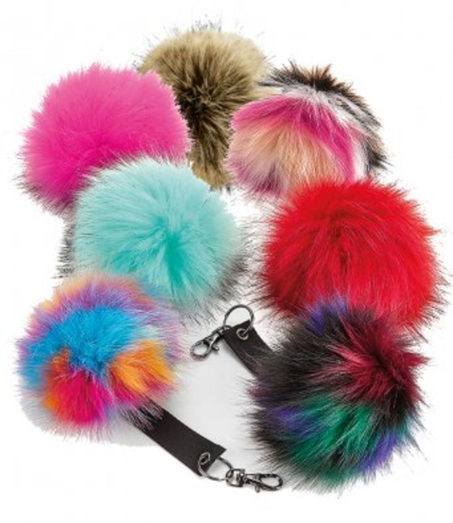 Faux Fur Pop Pom Pom key Ring Keyring
